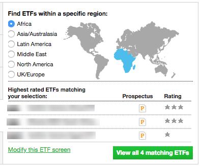 ETF emerging markets screener