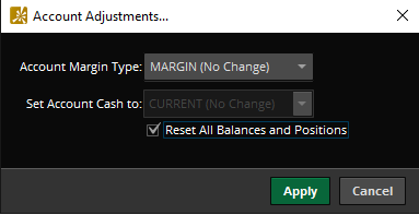 Reset Balances and Positions