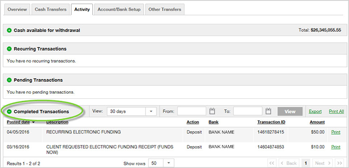 completed transactions tab on tdameritrade.com