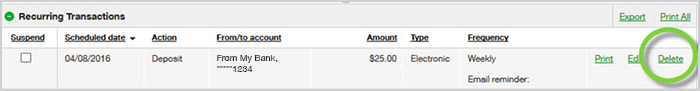 Activity tab delete transaction