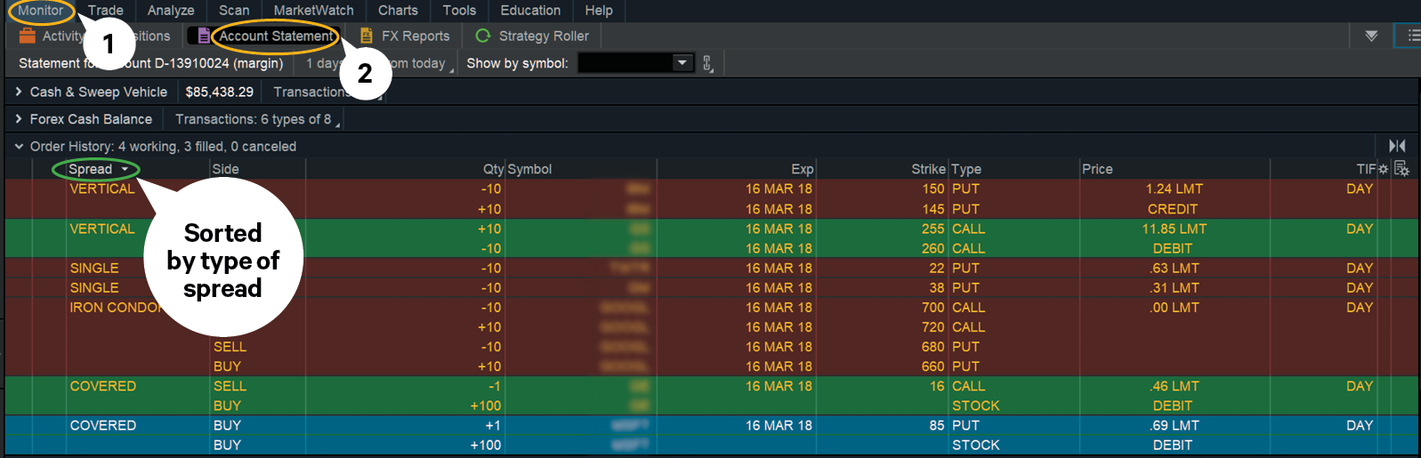 option orders and spreads