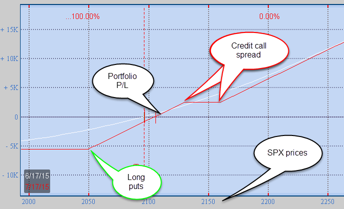 Profit/loss graph of a simulated long equity portfolio