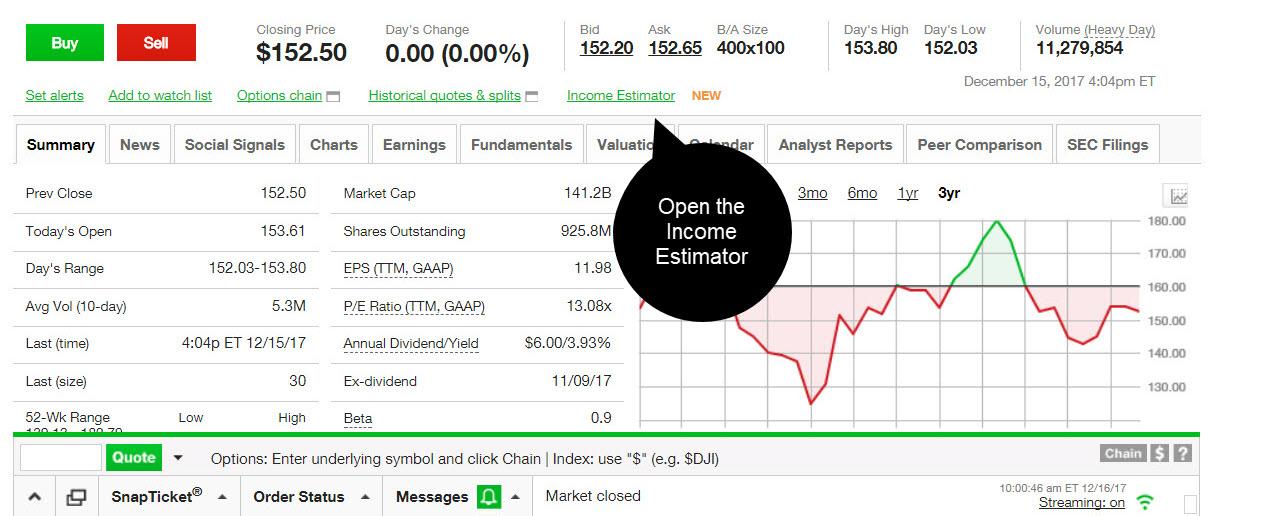 Dividend income estimator tool